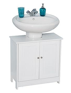 Amazing Yakoe Under Sink Bathroom Cabinet Basin Storage Unit Wood White 60 X 29 X 60 Cm Home Interior And Landscaping Mentranervesignezvosmurscom