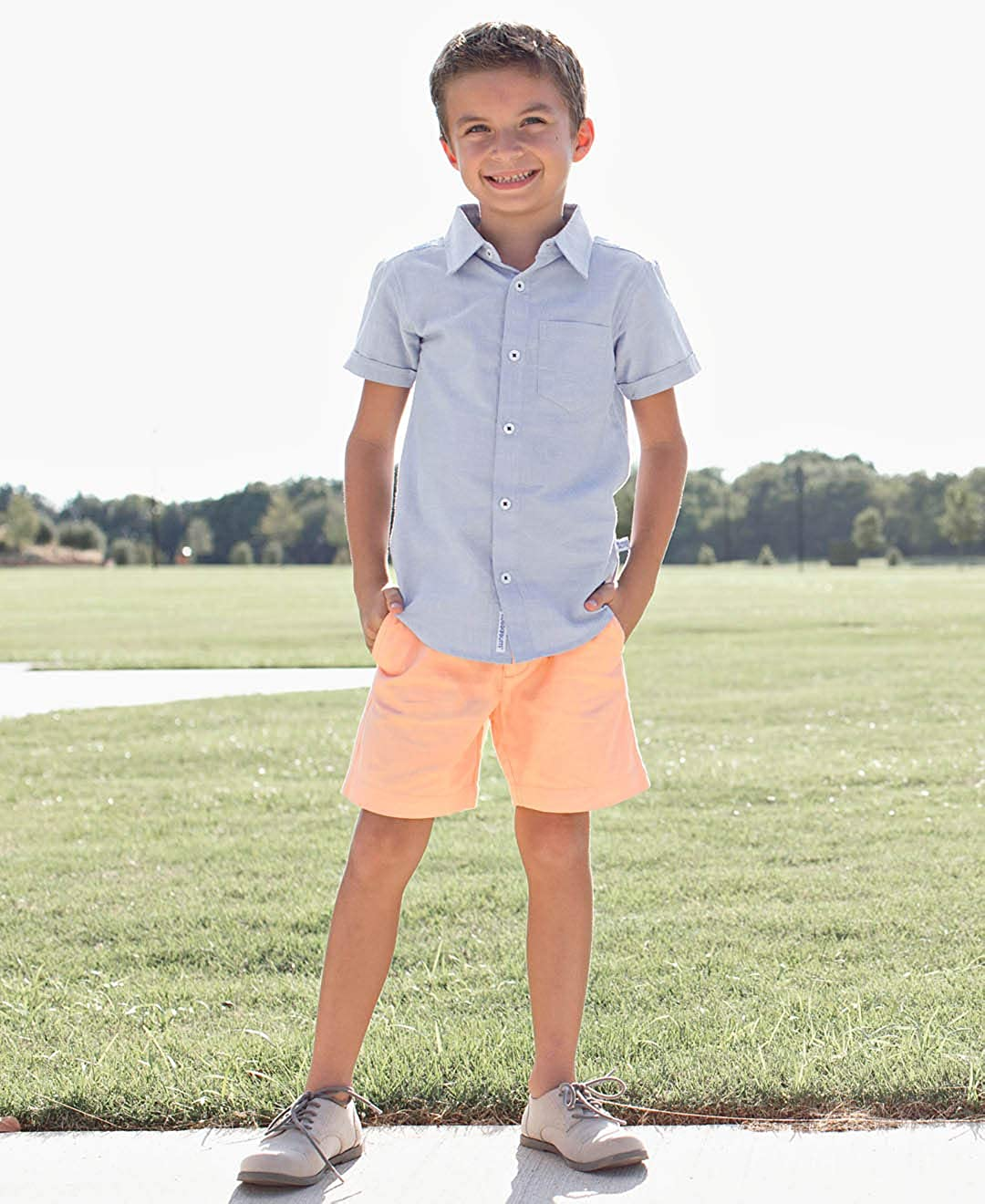 RuggedButts Little Boys Short Sleeve Button Down BSWYYXX-SSBD-SC-TDLR