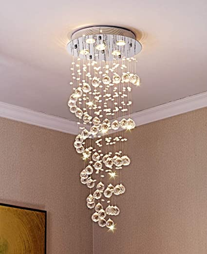 the latest f9f70 d9ae7 Saint Mossi Modern K9 Crystal Spiral Raindrop Chandelier Lighting Flush  Mount LED Ceiling Light Fixture Pendant Lamp for Dining Room Bathroom  Bedroom ...
