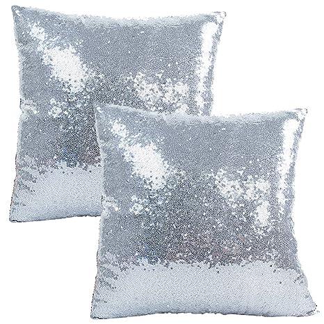 JOTOM Funda de Almohada con Lentejuelas con Brillo de Color sólido, Funda de cojín Cuadrada para sofá, decoración para el hogar, 40x40 cm, Juego de 2 ...