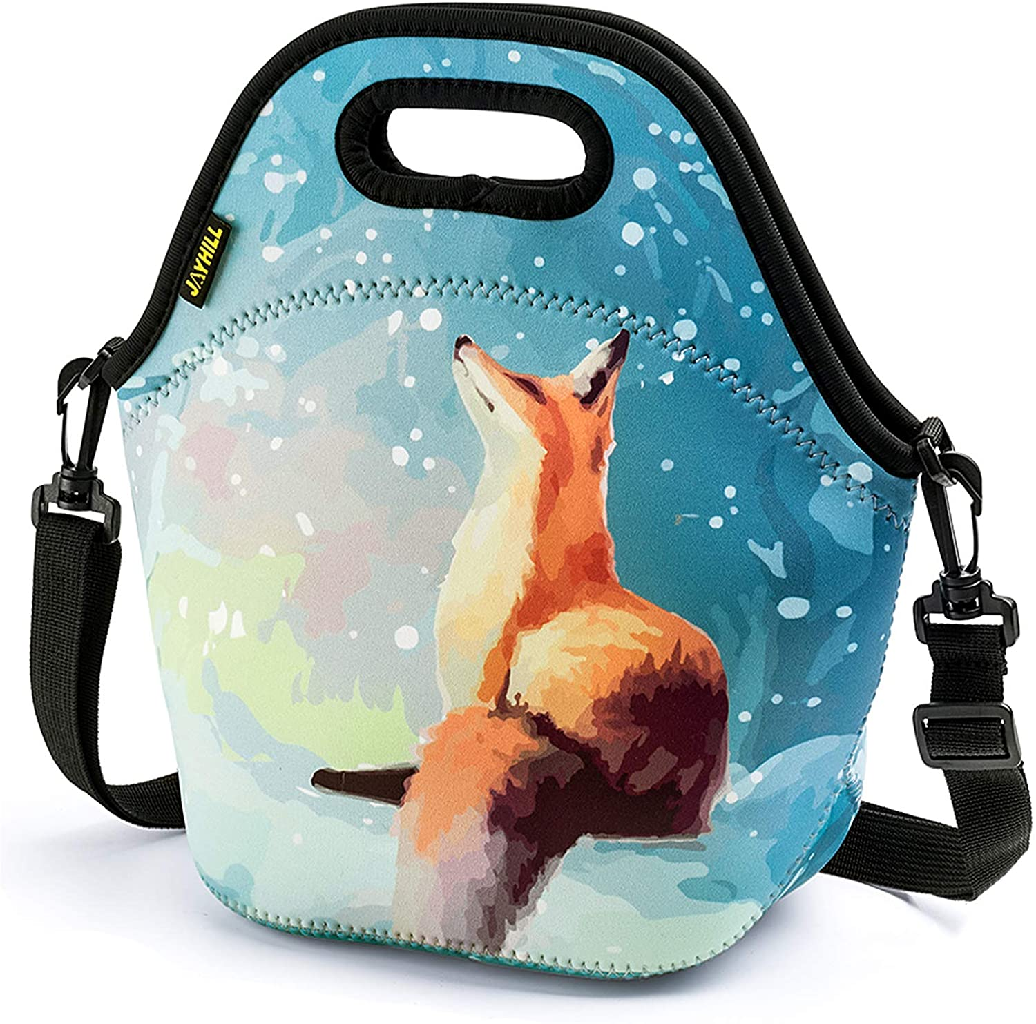 Neoprene Lunch Bag, Cute lunch bags for Women Kids Girls Men Teen Boys, Insulated Waterproof Lunch Tote Box for Work School Travel and Picnic (Orange Fox)