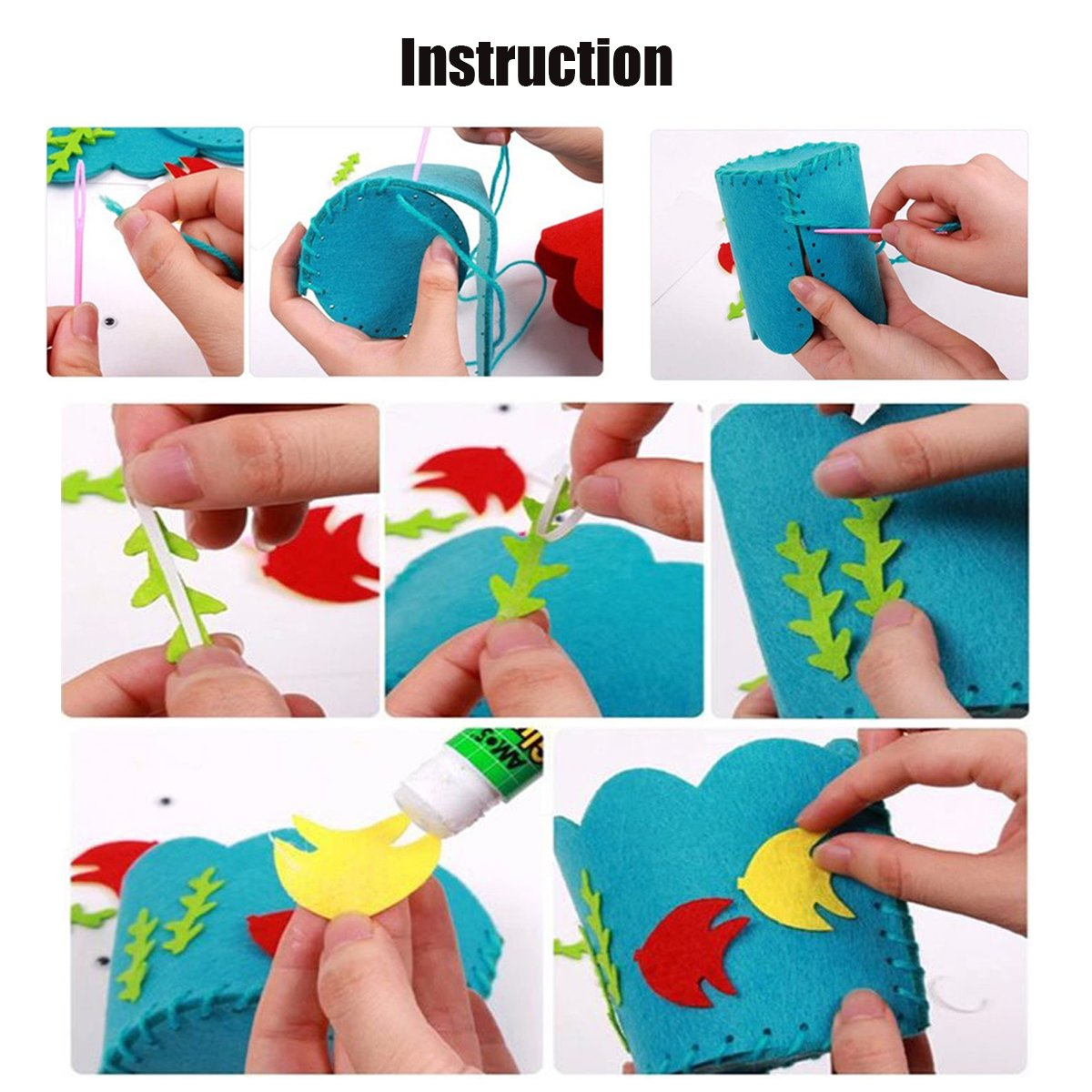 qiaoniuniu Sewing Kit for Kids DIY Art Craft Hand Stitch Play Set with Safety Needle Thread Harmless Felt for Beginner Children Girls Boy Great Gifts for christmas4 Package Handbags