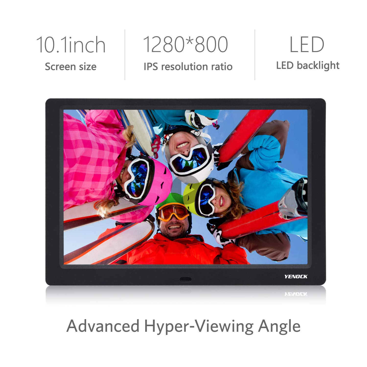 YENOCK Digital Picture Frame, 10.1 Inch IPS Screen Digital Photo Frame 1280×800 Pixels High Resolution Photo/Music/HD Video Player/Calendar/Alarm Auto On/Off Advertising Player with Remote Control by YENOCK (Image #5)