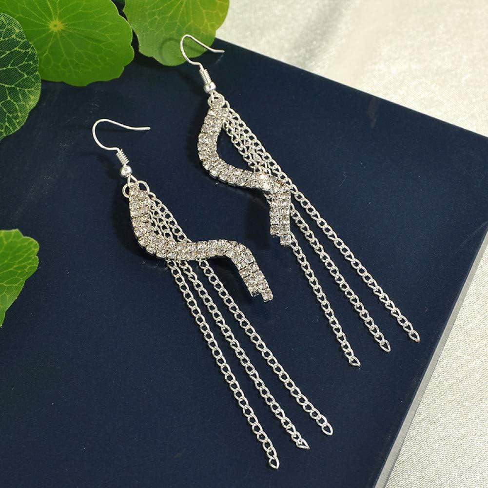 ZHQJY Borlas de Diamantes de imitación de Boda Plateados Pendientes de aretes de argolla para Mujeres joyería de declaración