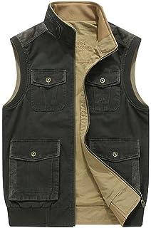 68899646320001 JIINN Herren Klassisch Outdoor Baumwolle Frühling Sommer Herbst Multi-Tasche  Weste Casual Waistcoat Multifunktional Zipper