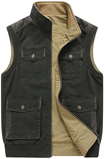 859137d7d61 JIINN Men s Classic Outdoor Multi-Pocket Fishing Vest Fashion Cotton Waistcoat  Jacket Spring Autumn Gilet