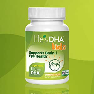 Life's DHA Kids All-Vegetarian DHA Dietary Supplement | Supports a Healthy Brain, Eyes & Heart* | 100% Vegetarian | From All-Natural Plant Source | 100 mg of DHA Omega-3 | 90 Easy-To-Swallow Softgels