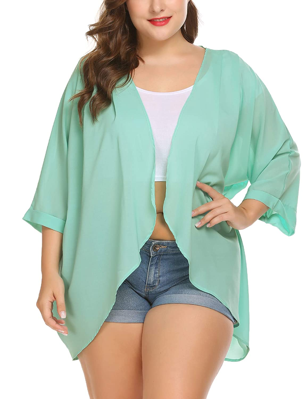 Involand Kimono Cover Up Cardigan Beachwear Bikini Cover Up Open Front Sheer Chiffon Beach Cover UP Plus Size for Women