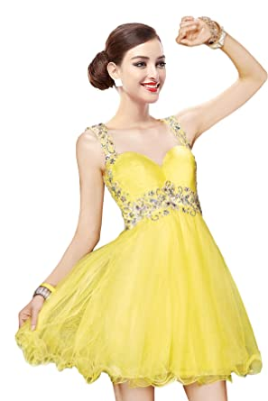 Cocomelody Womens Graceful A-line Straps Short Yellow Cocktail Dresses COAM14004 28 yellow