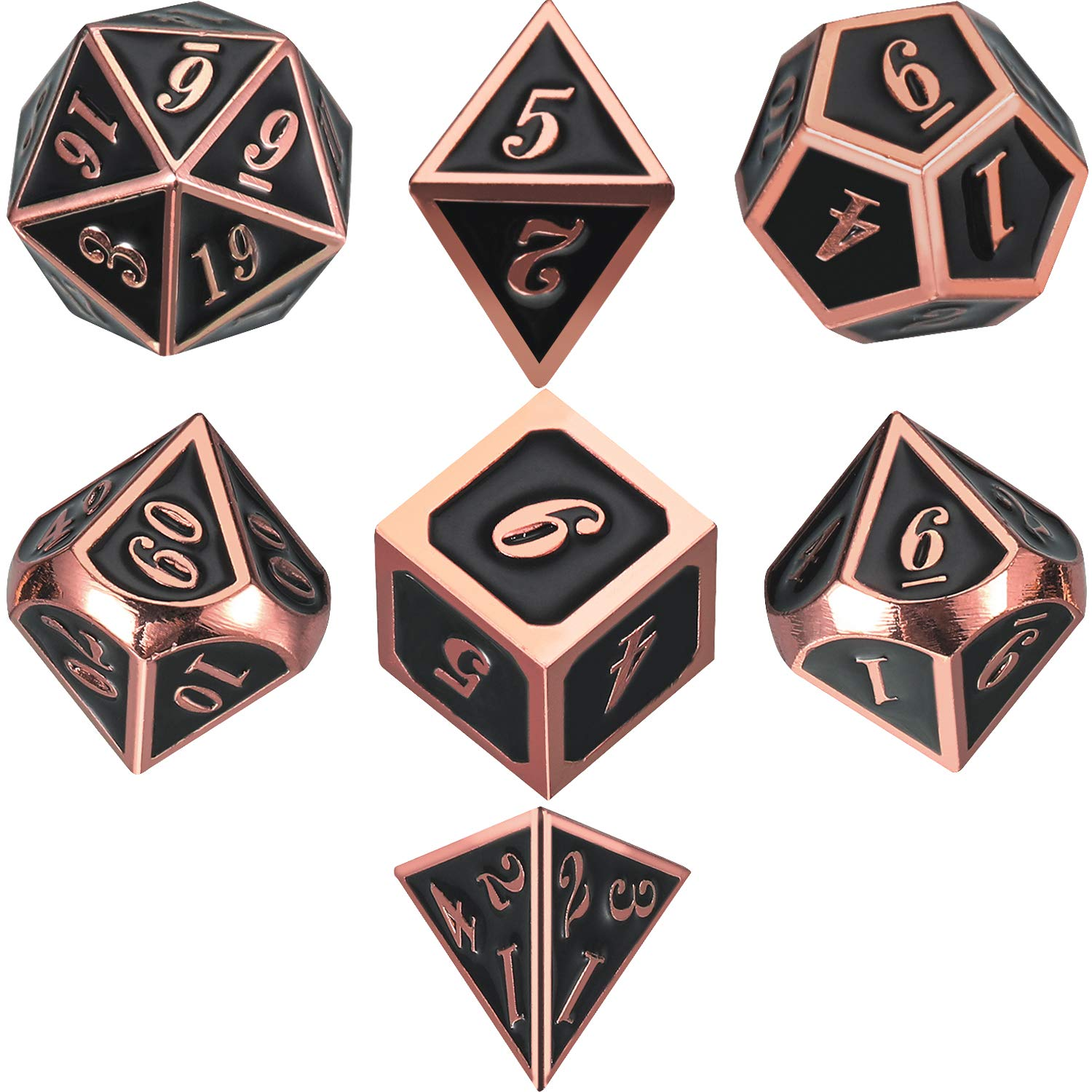 TecUnite 7 Die Metal Polyhedral Dice Set DND Role Playing Game Dice Set with Storage Bag for RPG Dungeons and Dragons D&D Math Teaching (Shiny Copper and Black)