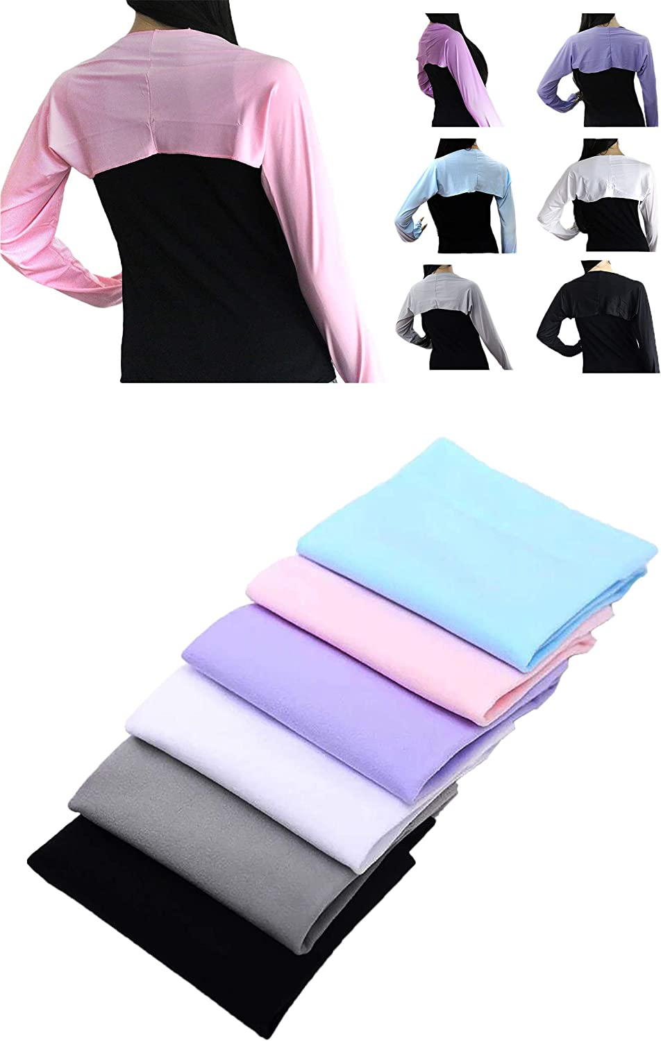 POSMA CS5010 Women Golf Cooling Shawl and Cooling Sleeves Multi Color Gift Set - Ultra Anti-UV,Comfortable & Breathable - Arm Sleeve Sun Protection Shrug for Golf, Sports and Outdoor Activities