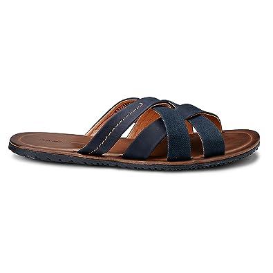 Cox Herren Herren Trend-Pantolette Offene Slipper in Blau mit Leder-Innenfutter Blau Textil 42