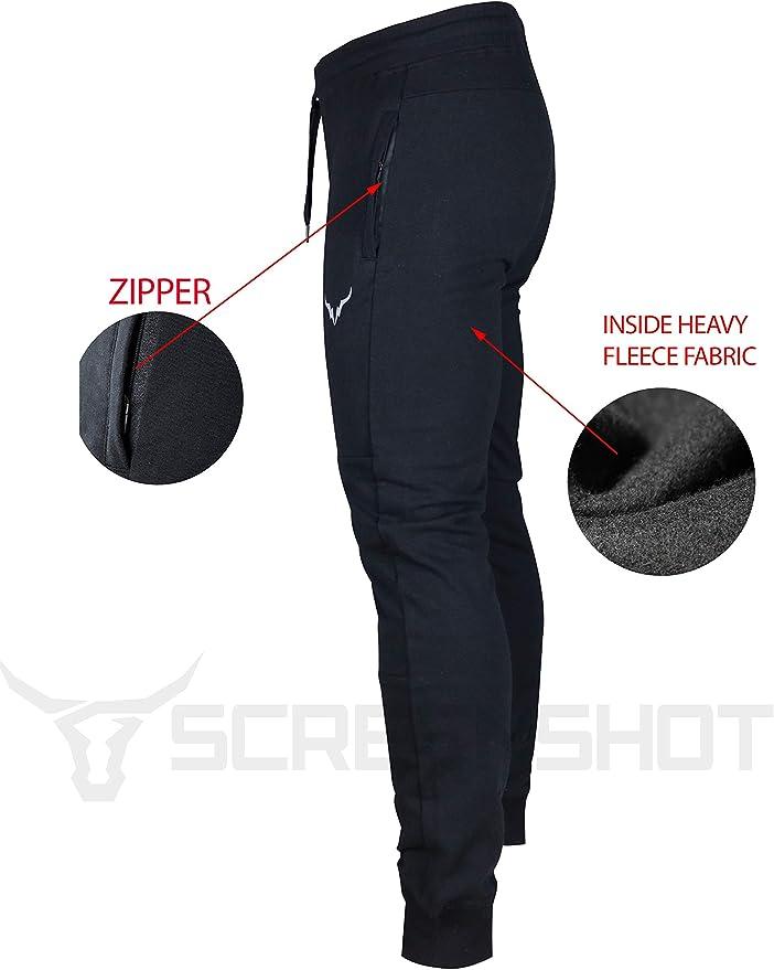 SCREENSHOT SPORTS Mens Spandex Fleece Athletic Jogger Fitness Workout Gym Sweatpants