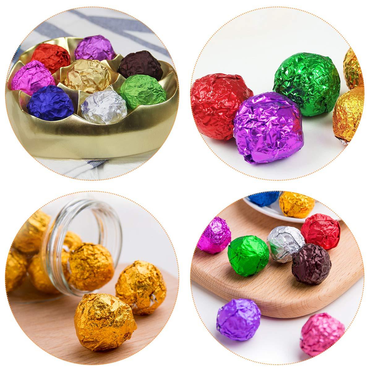 BESTONZON Fogli Carta da Imballaggio in Foglio Alluminio Stagnola Quadrate per Involucri Caramelle Cioccolato 200pcs