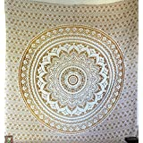 """olden Ombre Tapestry by JaipurHandloom"""" Ombre Bedding , Mandala Tapestry, Queen, Multi Color Indian Mandala Wall Art Hippie Wall Hanging Bohemian Bedspread"""