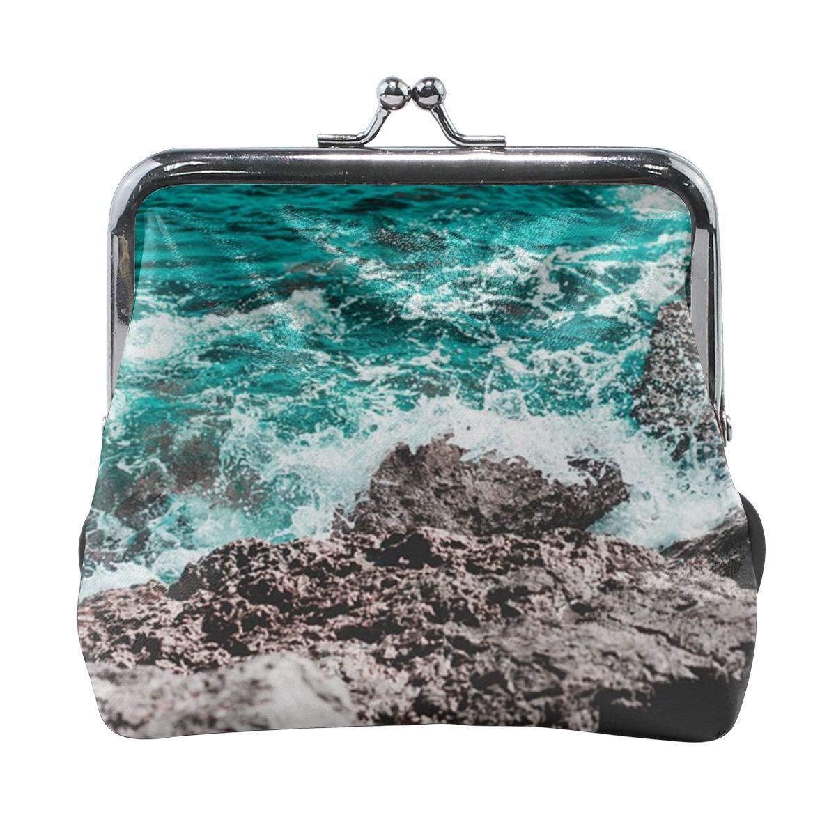 TYDhey Sea Water Splash On The Rocks Classic Buckle Coin Purses Leather Kiss-Lock Change Wallets