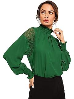 584df74e1 Archie Vince Womens White Victorian Floral Lace High Neck Shirt ...