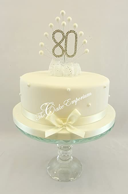 CAKE TOPPER PEARL BURST DECORATION SPRAY DIAMANTE 80th BIRTHDAY IVORY PEARLS Amazoncouk Kitchen Home