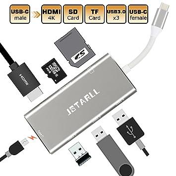 USB tipo C adaptador multipuerto HUB Convertidor 7 en 1, USB ...