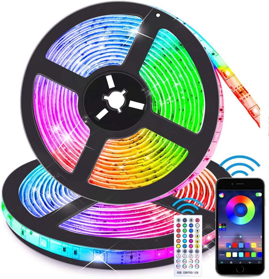 LED 5050 SMD Strip Lights 32.8FT 10m Music Sync RGB Lights Bluetooth APP Remote