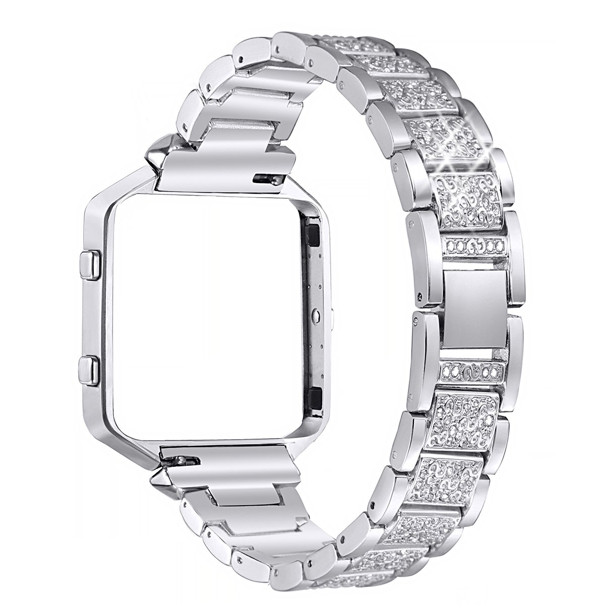 bayite Metal Bands with Frame Compatible Fitbit Blaze, Rhinestone Bling Replacement Accessory Bracelet Women, Silver