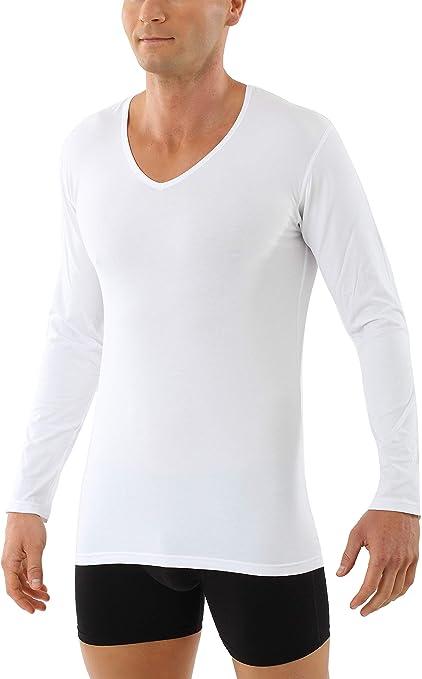 HERMKO 164680 Lot de 2 T-Shirt Manches Longues Homme avec col V en Coton//Modal