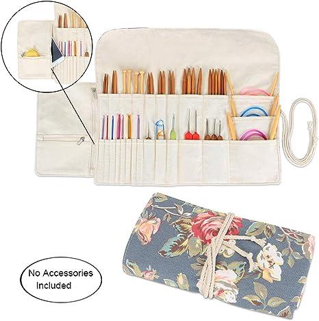 Estuche para agujas de tejer, organizador de lona de viaje para agujas de tejer circulares y rectas, ganchos de ganchillo y accesorios: Amazon.es: Juguetes y juegos