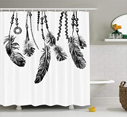 Ambesonne Native American Shower Curtain Tribal Feathers Ancient Icon For Wisdom And Strength