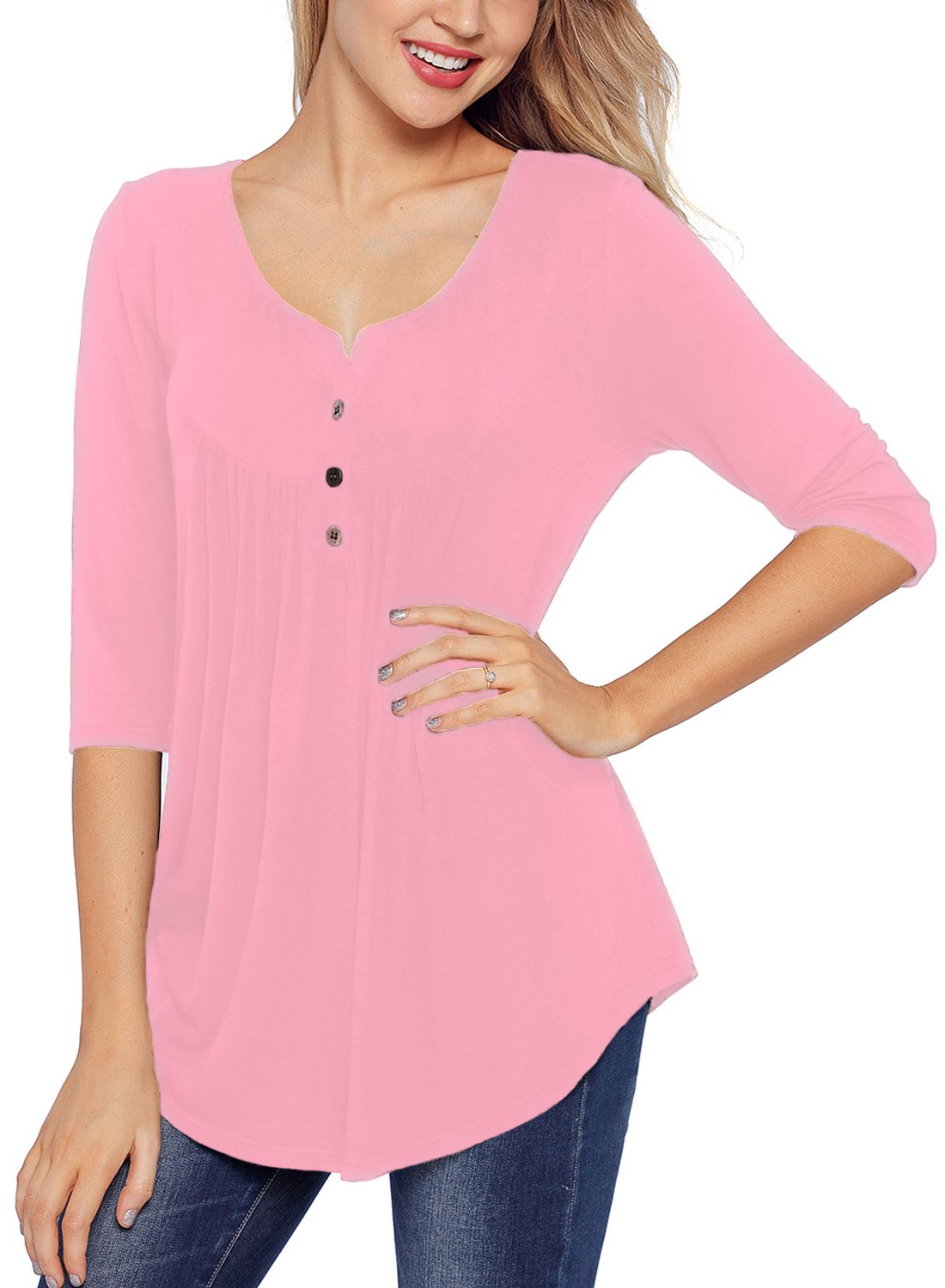 BLENCOT Women's Casual 3/4 Sleeve Button up Flare Tunic T-Shirt Pleated Solid Swing Blouse Tops-Pink Large