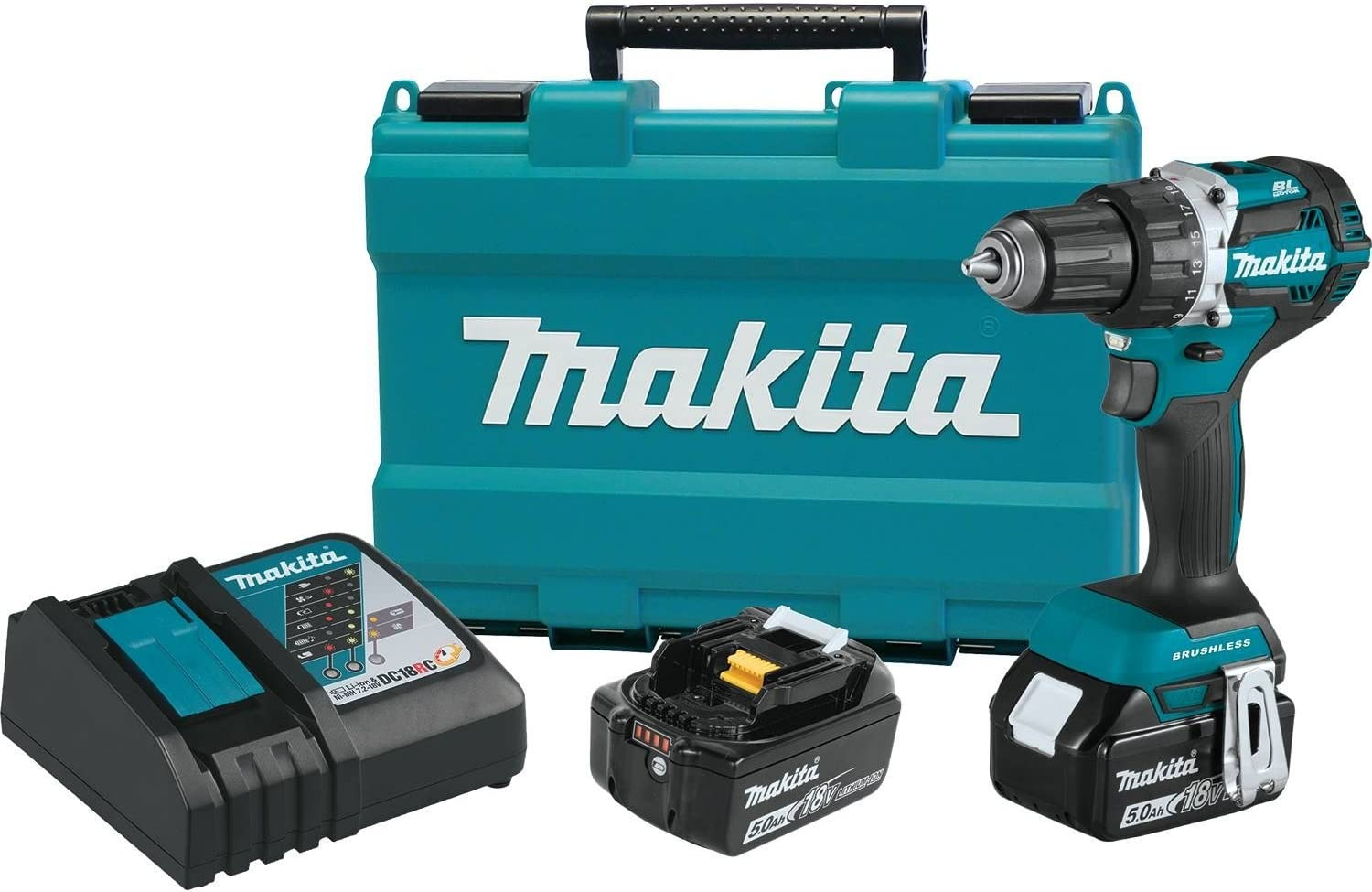 Makita XFD12T 18-Volt 1//2-Inch 5.0Ah Compact Cordless Driver-Drill Kit
