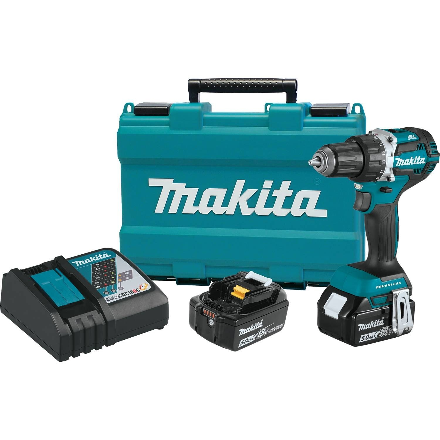 """Makita XFD12T 5.0 Ah 18V LXT Lithium-Ion Compact Brushless Cordless 1/2"""" Driver-Drill Kit"""