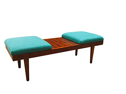 Design 59 Inc RETRO Mid Century Modern Acacia Wood Coffee Table Ottomans Or  Bench (