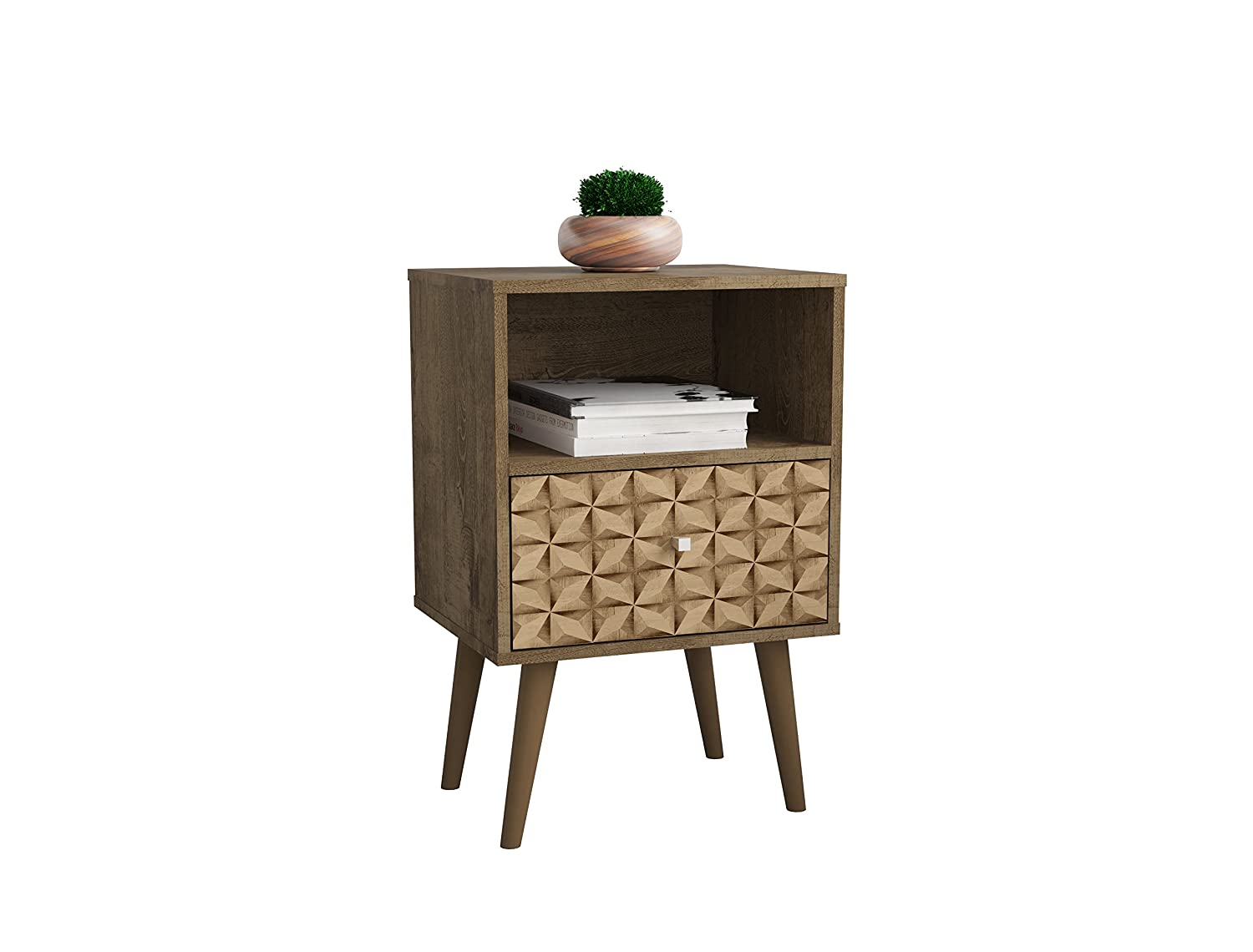 Rustic Brown 3d Brown Manhattan Comfort 203AMC94 Liberty Modern 1 Drawer Bedroom Nightstand End Table, Rustic Brown Yellow