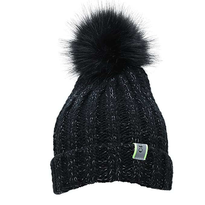 e24fb14809a26 Ofoot Men s   Women s Winter Warm Thick Soft Beanie Hat with Faux Fur Pom  Pom