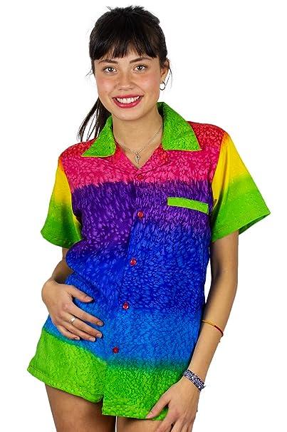 eb966897 V.H.O Funky Hawaiian Blouse Women Short-Sleeve Front-Pocket Rainbow Stripes  Multicolor at Amazon Women's Clothing store: