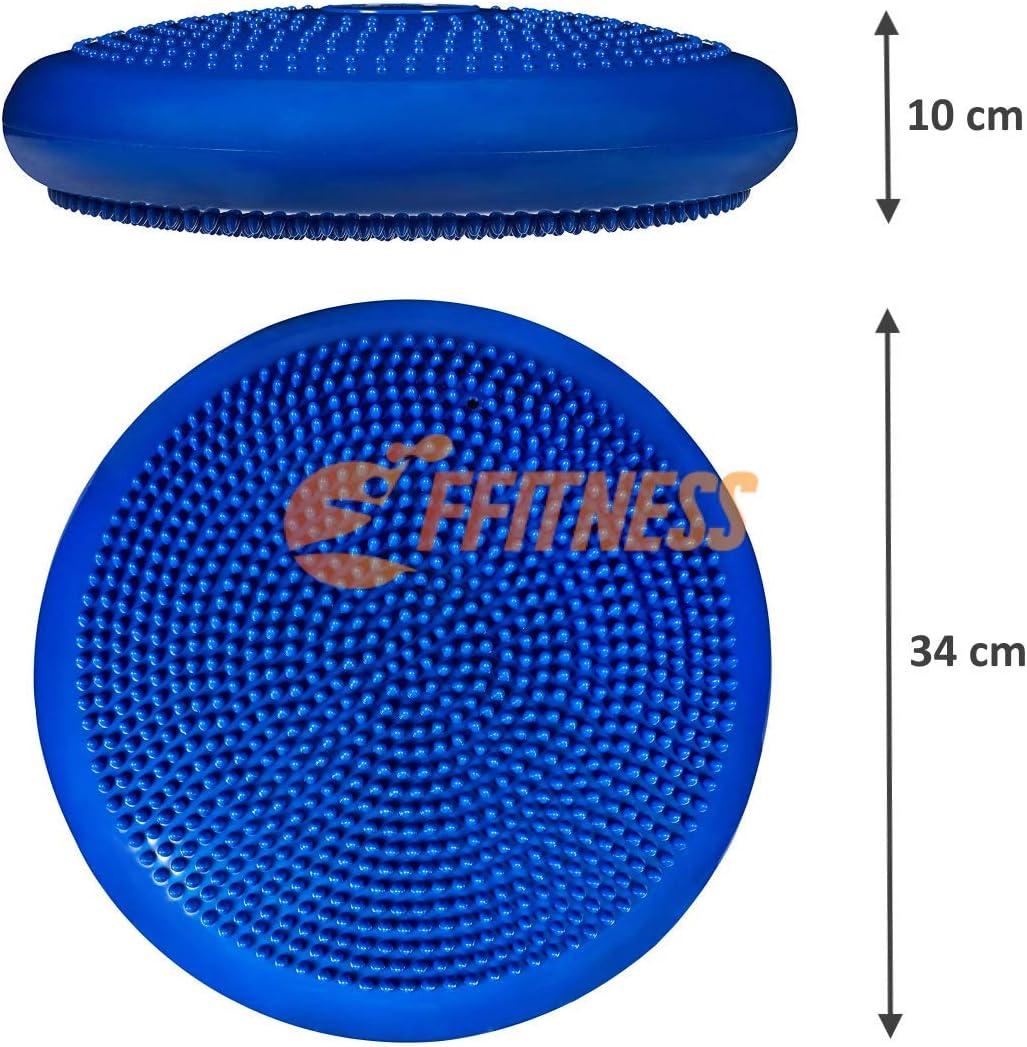 FFitness Balance Cushion 34 cm - Almohada de Aire Hinchable para Equilibrio Core Stability, Gimnasia postural, rehabilitaci/ón, propiocepci/ón, fortalecimiento Abdominal, Pilates, Yoga