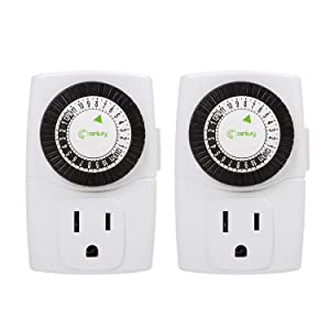 Century Indoor 24-Hour Mechanical Outlet Timer, 3 Prong, 2-Pack