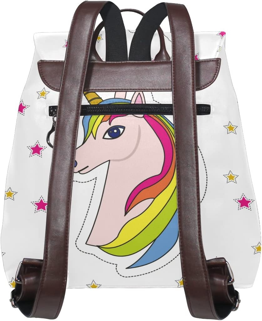 KUWT Rainbow Unicorn with Shining Stars PU Leather Backpack Photo Custom Shoulder Bag School College Book Bag Rucksack Casual Daypacks Diaper Bag for Women and Girl