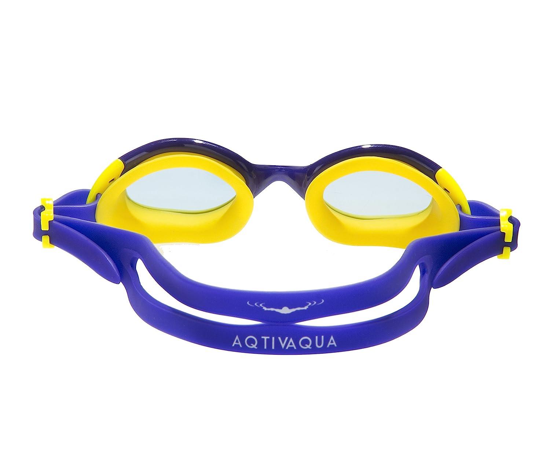 b6702fe1ab AqtivAqua Gafas de natación para niños niño y niña (de 2 a 12 años) (Azul  Claro/Amarillo)