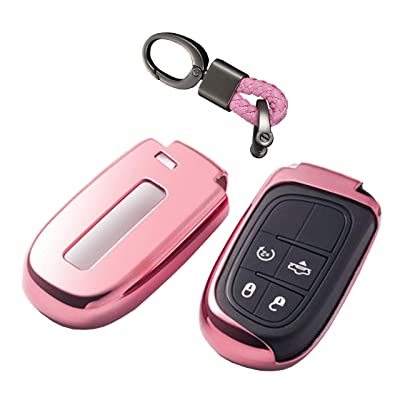 The Best Premium Soft TPU Half Cover Protection Smart Remote Keyless Key Fob Case With Have Logo Key Chain Fit For Jeep/Dodge/Chrysler Key Fob: Automotive
