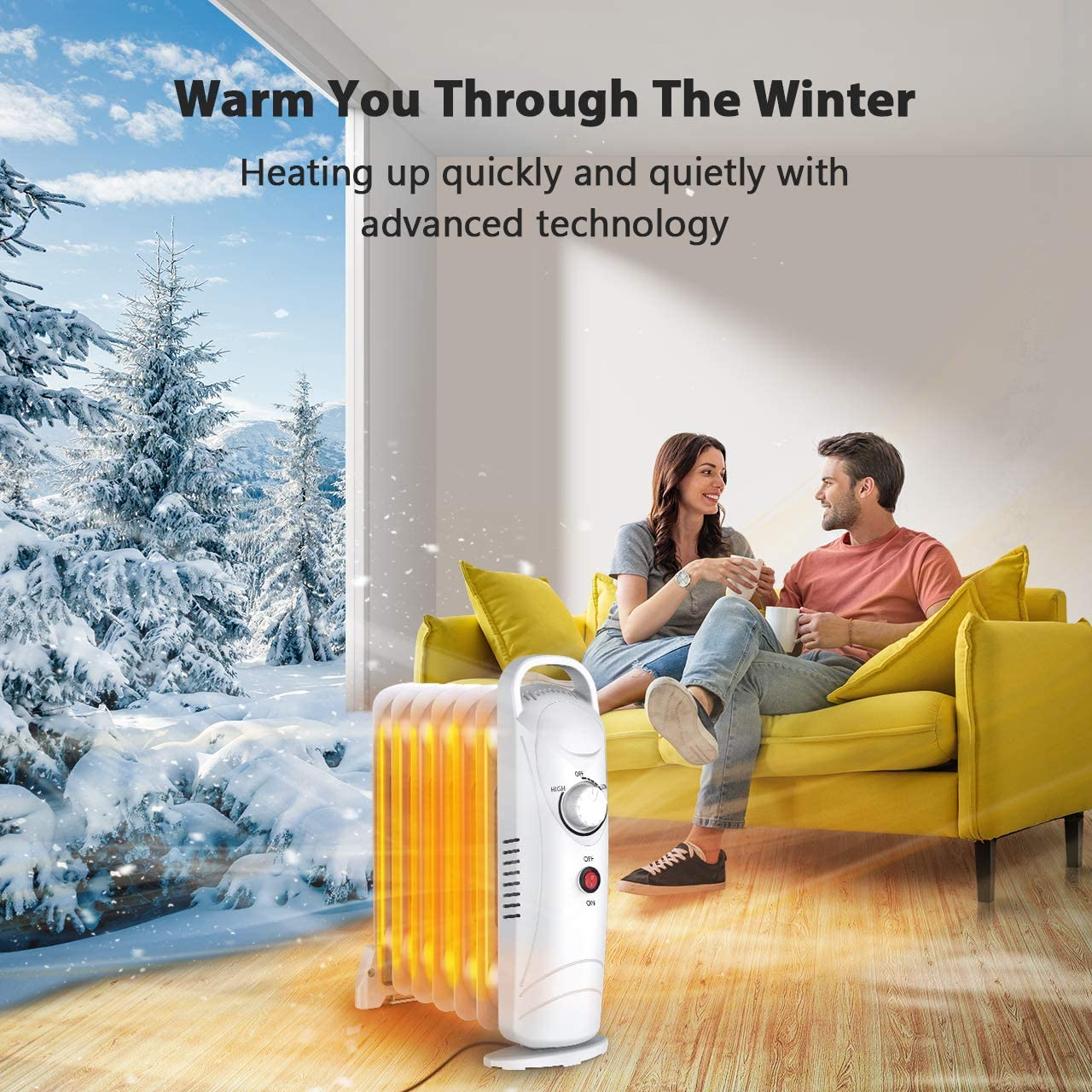 Electric Oil Heater Oil-filled Radiator Heater with Adjustable Thermostat Overheat Protection 700W Mini Oil Space Heater for Office Quiet Portable Oil Heater for Home Energy Saving