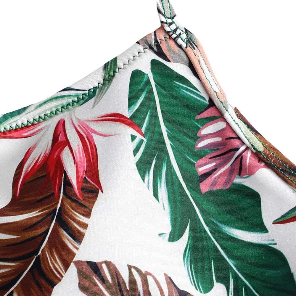 ZAFUL Damen Tankini Set Crisscross R/¡/§1schen Bikini Badeanzug Blatt Sonnenblumen Print High Waist Badeanzug