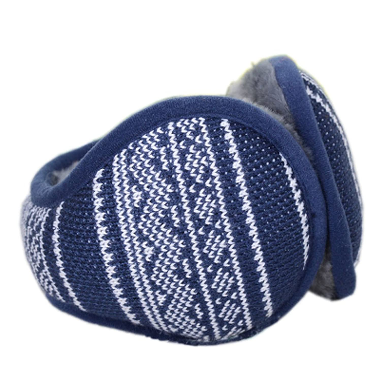 Dark Blue Jacquard Ohr-Wärmer Faltbare Earmuffs für Outdoor-Skifahren