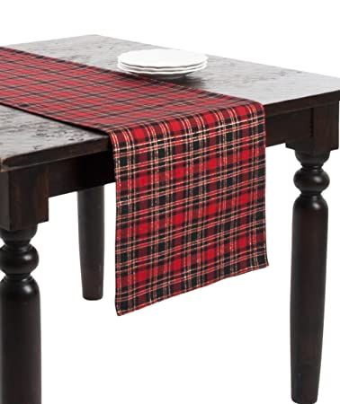 Highland Holiday Red And Black Plaid Table Runner, 16x72 Rectangular