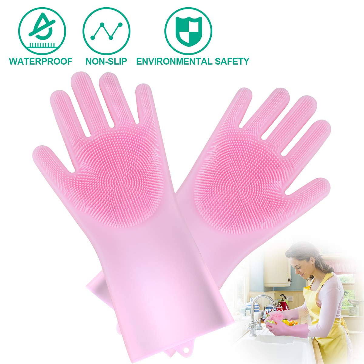 JBingGG Magic Silicone Dishwashing Gloves Magic Silicone Gloves Dishwasher Gloves Kitchen Tool for Cleaning, Dish Washing, Washing The Car, Pet Hair Care - 1 Pair (Pink)