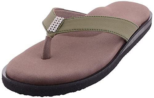 3ba0931ab022 Dia One Women s Khaki Orthopedic Sandal Rubber Sole MCP Insole Diabetic  Footwear for Women (Dia 34