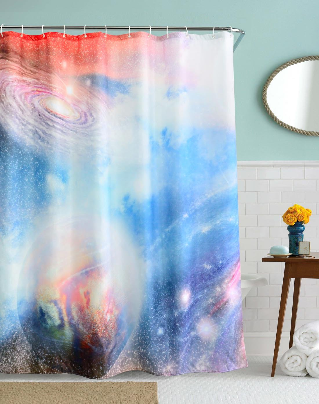 """CHICHIC 71"""" x 71"""" Thickening Shower Curtain Liner Liners, 100% Mildew Resistant Waterproof & Water Repellent Antibacterial Polyster for Decorative Bathroom Curtains Spa Hotel Luxury, Cosmos"""