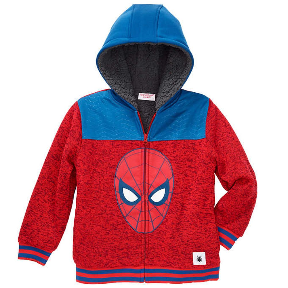 C-Life Marvel Spider-Man Little Boys Sherpa Fleece Zip up Hoodie
