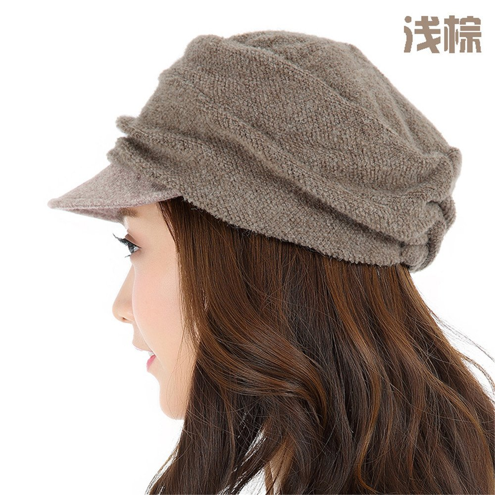 Tejer la moda elegante sombrero de ocio pato hembra lengua todos-match otoño invierno,M (55-58cm) banda elástica,marrón claro