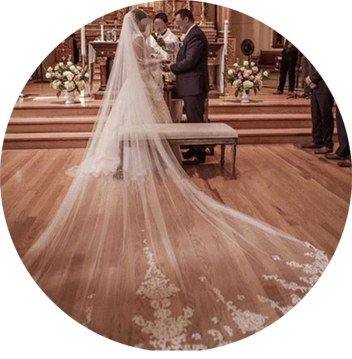 Ivory One Tier 3M Long Wedding Veil Cathedral Length Lace Edge Soft Netting Bridal Veil With Comb White Ivory,Ivory,500Cm
